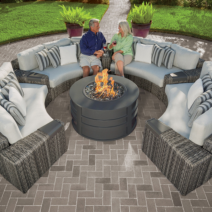 Orsay Curved Sofa Sectional Smoke with Round Fire Pit Sensation Pebble Cushions with models (1)