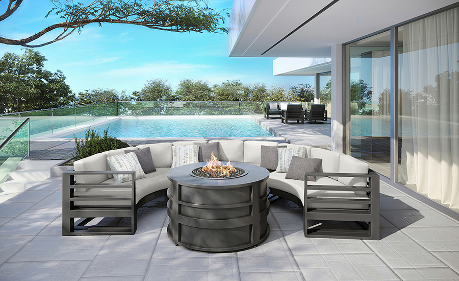 Palermo Curved Sofas with Round Fire Pit Graphite